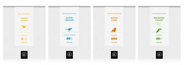 Kaffee Tierserie Probierset 4x 200g ganze Bohne