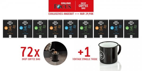 Focus Online Deal | DRIP COFFEE BAG | 9x 8er Paket inkl. Emaille Tasse